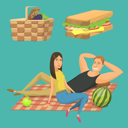 pareja comiendo: Picnic setting with red wine glasses picnic hamper basket. Barbecue resting couple vector character Vectores