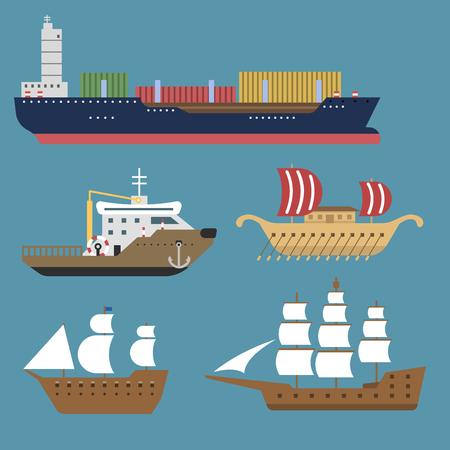 船クルーザー ボート海シンボル船旅行業界ベクトル ヨット クルーズ海洋アイコンのセット  イラスト・ベクター素材