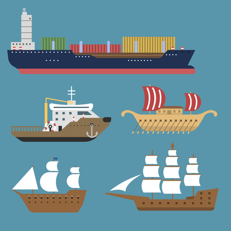 Ship cruiser boat sea symbol vessel travel industry vector sailboats cruise set of marine icon
