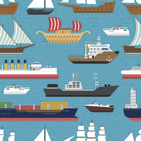 Ship cruiser boat sea vessel travel industry vector sailboats cruise marine seamless pattern backgrpund Illustration