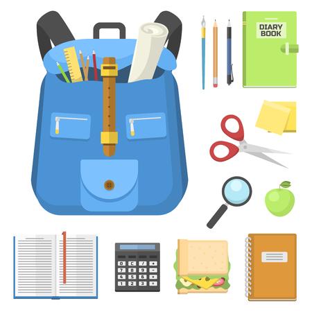 School bag backpack full of supplies children stationary zipper educational sack vector illustration.