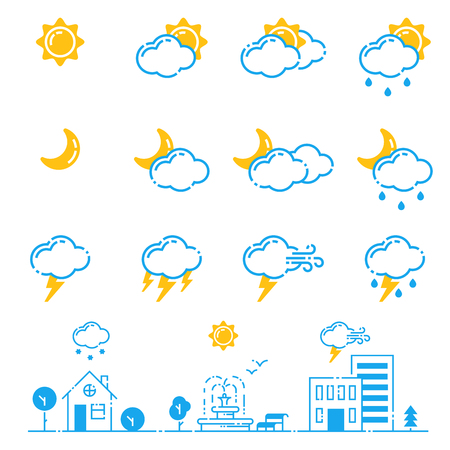 Set of weather icons vector illustration season outline design thunder temperature sign Imagens - 78368774