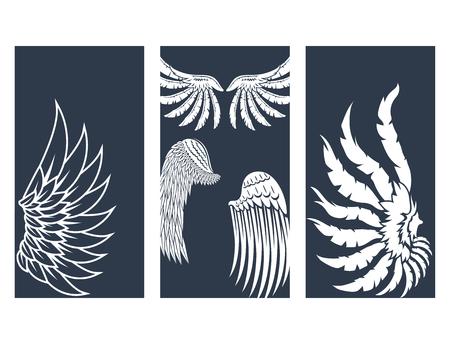 Alas mano dibujado aves de pino de aves de pino pájaro natural paz ilustración vectorial diseño. Foto de archivo - 78368784