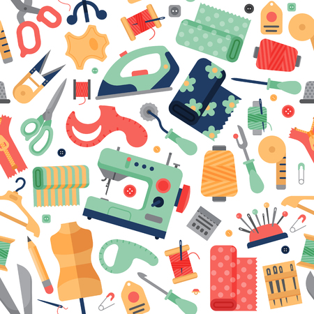 Attrezzatura degli accessori di hobby del cucito che adatta l'illustrazione di vettore del ffancy-lavoro. Archivio Fotografico - 78368782