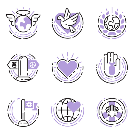 Peace outline thin line icons love world freedom international free care hope symbols vector illustration Illustration
