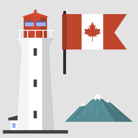 canadian flag: Travel canada traditional objects country tourism design national symbol vector illustration.