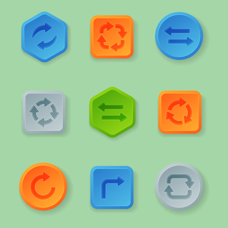 icons site search: Colorful website turn buttons design vector illustration glossy graphic label template banner.