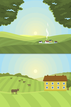 rural road: Village landscapes vector illustration farm house agriculture graphic countryside