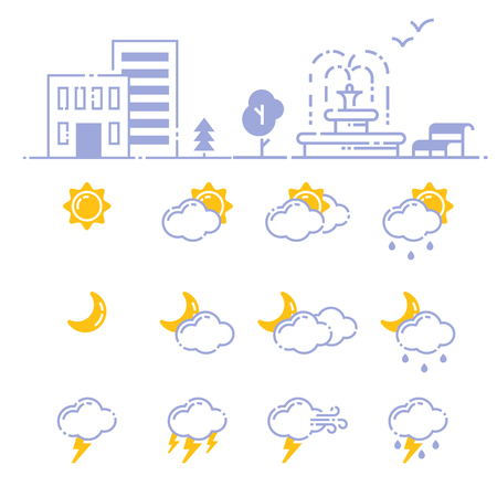Set of weather icons vector illustration season outline design thunder temperature sign Stock Vector - 78526103