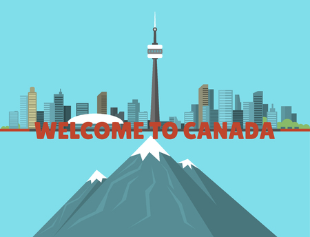 Canada city creek mountain nature skyline peak background downtown canadian cityscape vector illustration
