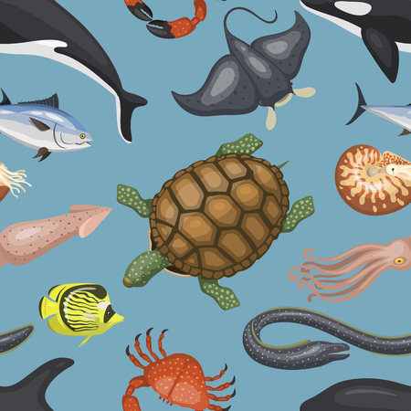Sea animals illustration tropical character wildlife marine aquatic tropic fishes sealess pattern vector background Ilustrace
