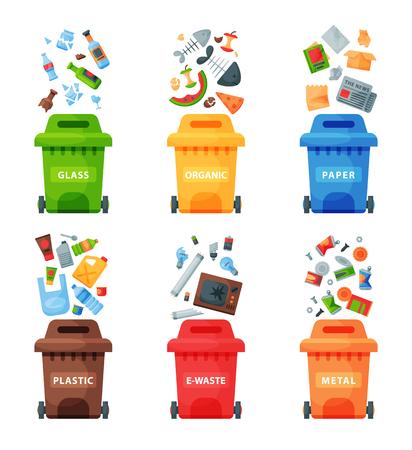 Concept de gestion des déchets séparation séparation poubelles tri recyclage élimination des déchets bin illustration vectorielle