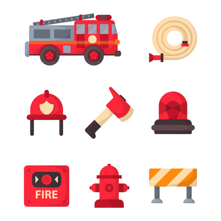 safe water: Fire safety equipment emergency tools firefighter safe danger accident protection vector illustration. Illustration