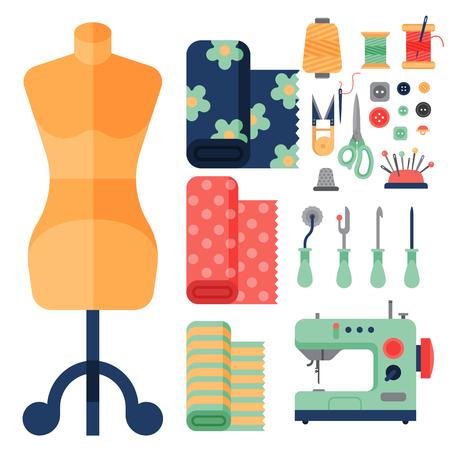 Draad benodigdheden accessoires naaimachine tailoring mode pin handwerk naaldwerk vector illustratie. Vector Illustratie