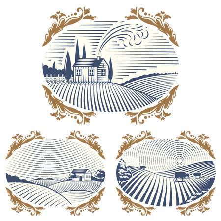 rural road: Retro landscapes vector illustration farm house agriculture graphic countryside scenic antique drawing.