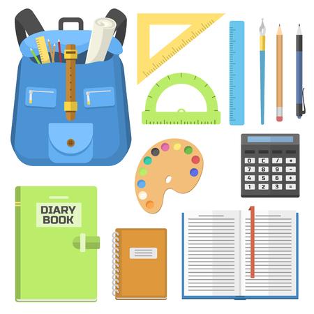 Schule Tasche Rucksack voller Versorgung Kinder stationären Reißverschluss Bildungs-Sack Vektor-Illustration. Standard-Bild - 78543221