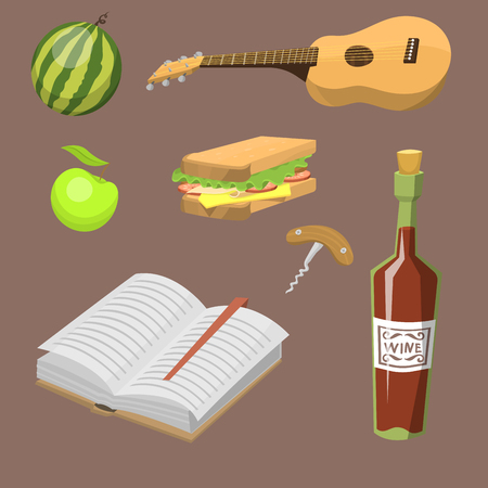 white wine: Picnic basket with food relaxation vacation container lunch summer meal vector illustration