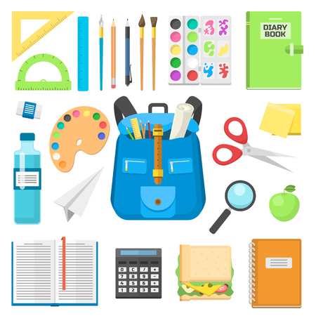 School bag backpack full of supplies children stationary zipper educational sack vector illustration.