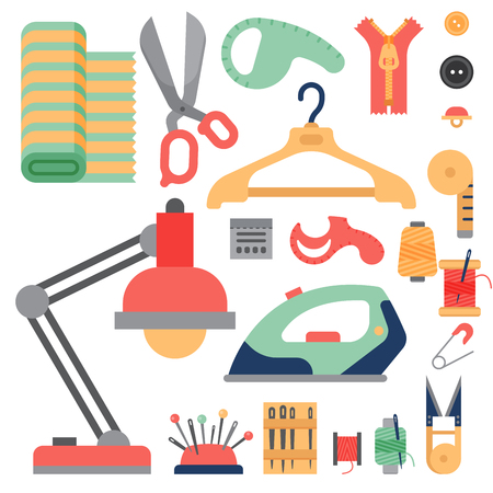 Thread liefert Zubehör Nähen Ausrüstung Schneiderei Mode Pin Handwerk Handarbeit Vektor-Illustration. Standard-Bild - 78604390