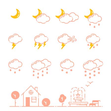 날씨 아이콘 벡터 일러스트 레이 션의 설정 시즌 개요 디자인 천둥 온도 기호