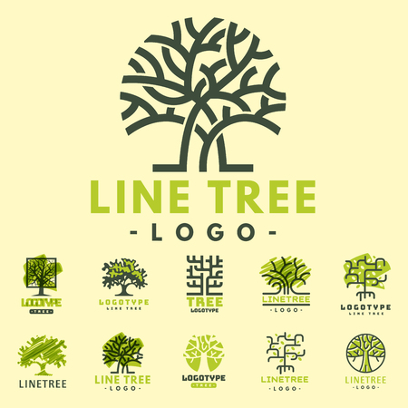 pine forest: Tree outdoor travel green silhouette forest badge coniferous natural badge tops line spruce vector. Illustration