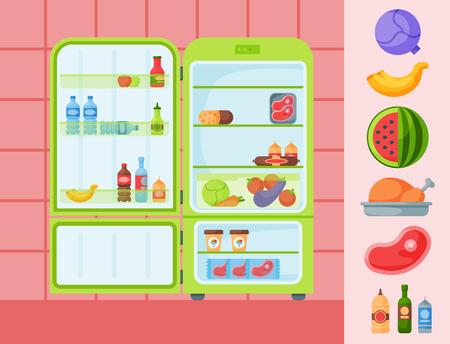 Refrigerator organic food kitchenware household utensil fridge appliance freezer vector illustration.