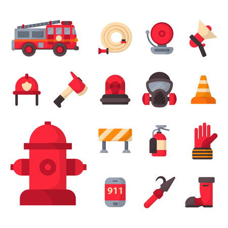 Fire safety equipment emergency tools firefighter safe danger accident protection vector illustration. Illusztráció