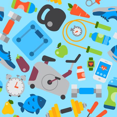 Estilo de vida saludable comer diariamente iconos y herramientas de gimnasio de deporte estilo de vida fitnes patrón transparente ilustración vectorial de fondo. Foto de archivo - 78609395