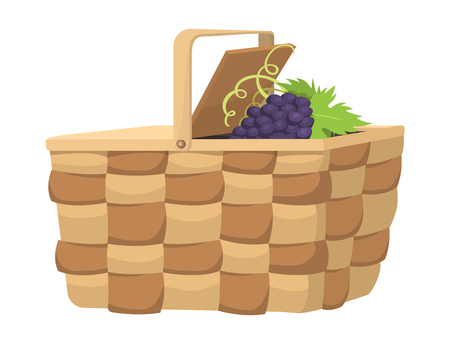 Picnic basket with food relaxation vacation container lunch summer meal vector illustration
