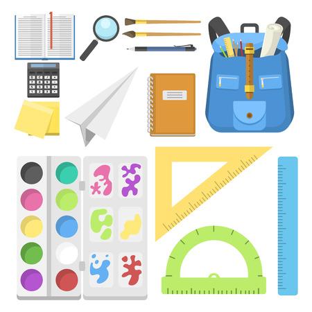 Schule Tasche Rucksack voller Versorgung Kinder stationären Reißverschluss Bildungs-Sack Vektor-Illustration. Standard-Bild - 78679299