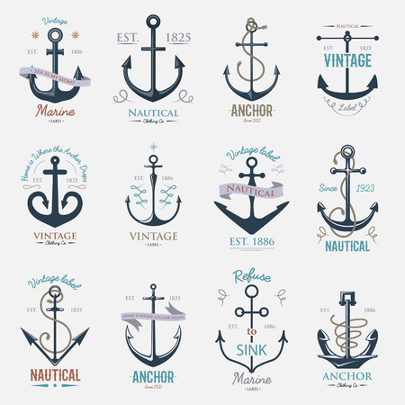 Vintage retro anchor badge vector sign sea ocean graphic element nautical naval illustration