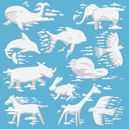 Animal clouds white overcast silhouette kids dreaming fantasy cute zoo collection vector illustration