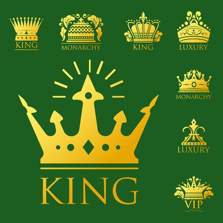 Crown king vintage premium golden badge heraldic ornament luxury kingdomsign vector illustration.