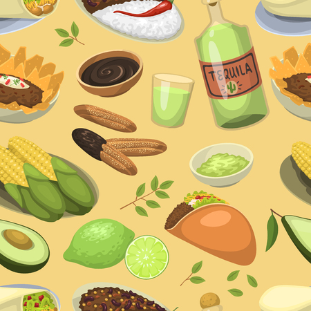 Mexican traditional food meal plates lunch sauce mexico cuisine vector illustration seamless pattern background Illustration