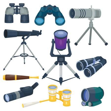 전문 카메라 렌즈 쌍안경 유리 봐 - 망원경 광학 장치 카메라 디지털 포커스 광학 장비 벡터 일러스트 일러스트