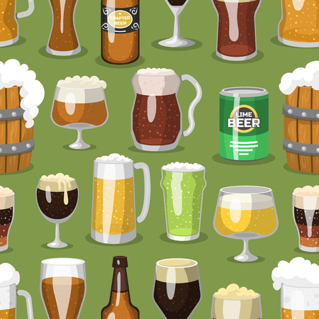 alehouse: Alcohol beer ale glass vector illustration refreshment brewery and party beverage mug frosty craft drink seamless pattern background