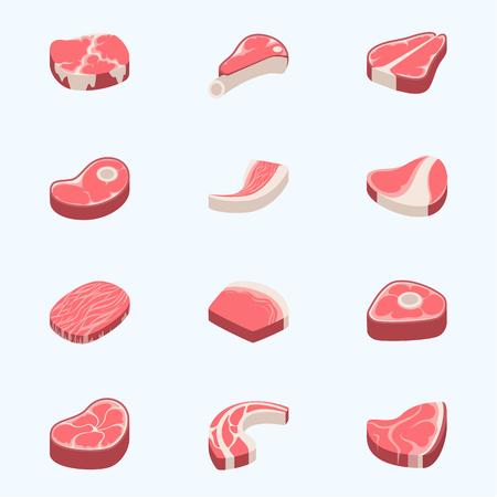 Rundvlees Rauwvlees Eten Rood Verse Snij Slager Ongekookt Hack Barbecue Bbq Plak Ingredient Vectorillustratie