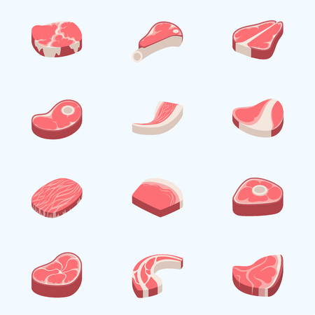 Beef steak raw meat food red fresh cut butcher uncooked chop barbecue bbq slice ingredient vector illustration