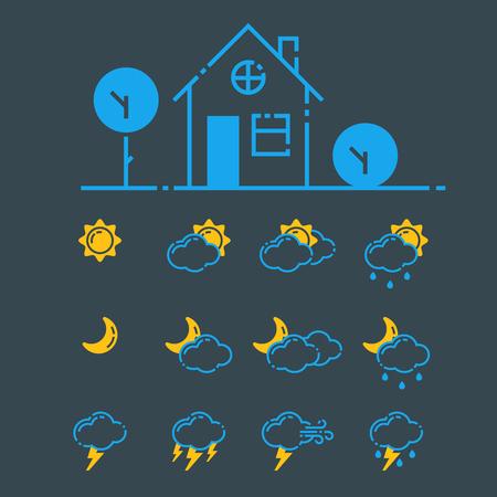 Set of weather icons vector illustration season outline design thunder temperature sign Illustration