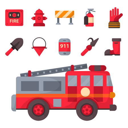 Fire safety equipment emergency tools firefighter safe danger accident protection vector illustration. Vectores