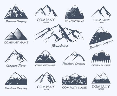 mountaineering: Mountain badge travel hill outdoor mountaineering symbol vector set