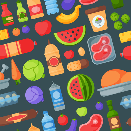 Everyday food products seamless pattern background