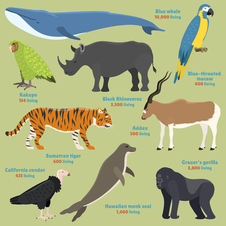 Different kinds deleted species dying rare uncommon red book animals characters vector illustration Vectores