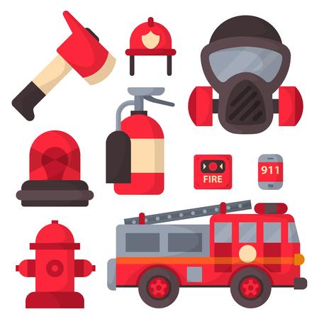 Equipo de seguridad contra incendios herramientas de emergencia bombero seguro peligro de accidentes ilustración vectorial protección. Foto de archivo - 79094648