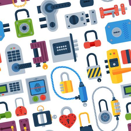 House door-lock access equipment web safety conept padlock vector illustration.