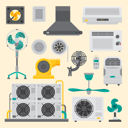 Air conditioner airlock systems equipment ventilator conditioning climate fan technology temperature cool vector illustration.