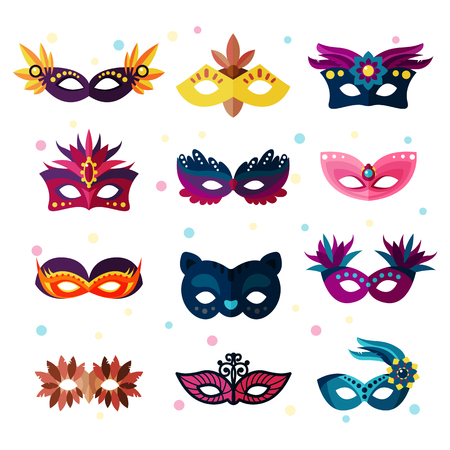 Authentic party carnival face masks decoration masquerade vector illustration