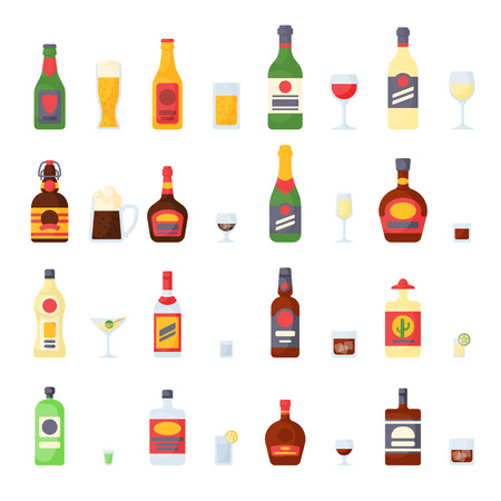 Alcohol drinks in bottles cocktail glasses whiskey cognac brandy beer champagne wine vector collection Illustration