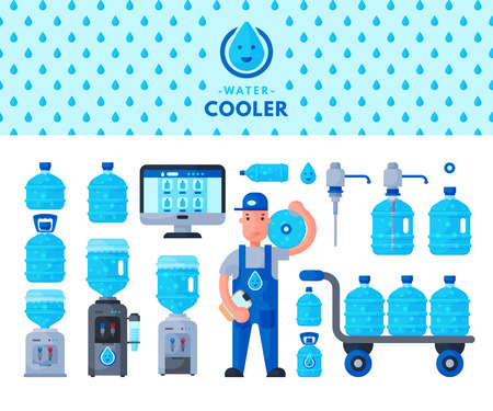 Water delivery service man character in uniform and different water bottle vector elements. Drink bottle plastic blue container business service. Mineral liquid worker job industry.
