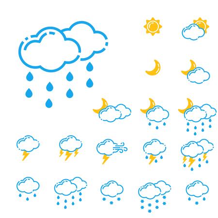 Set of weather icons vector illustration season outline design thunder temperature sign Ilustração